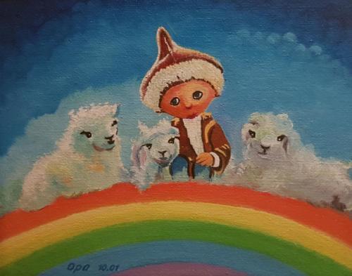 Kinderbild - Sandmännchen - Ölbild
