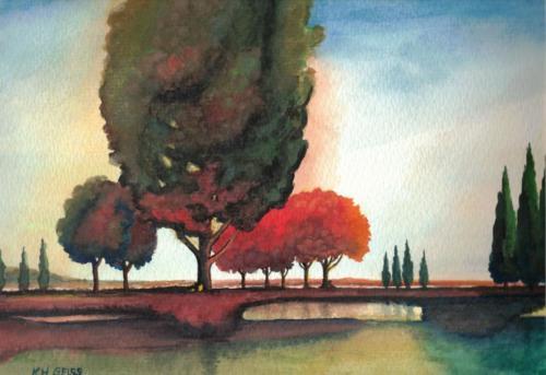 Bäume und See