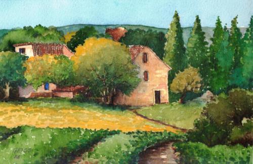 Bauernhaus mit Bäumen