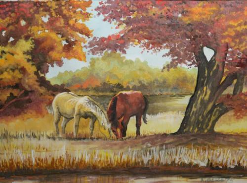Pferde auf einer Lichtung