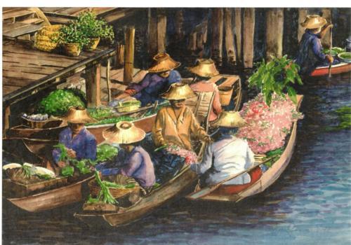Asiatischer-Markt auf einem Fluß