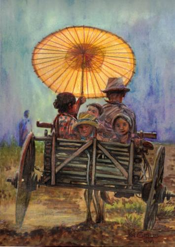 Familie auf altem Eselswagen