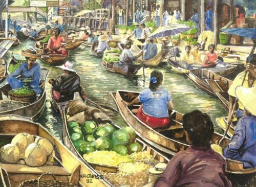 Markt auf einem Fluß