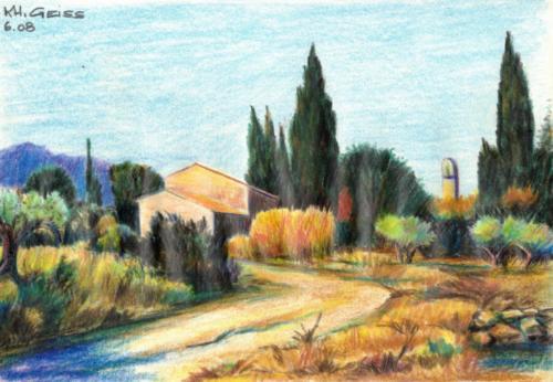 Feldweg mit Haus in der Provence