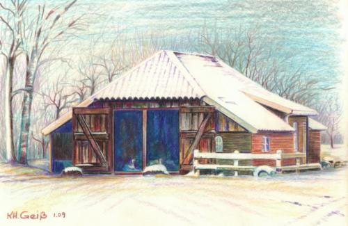 Zeichnung color Moderne Holzschäune