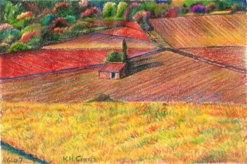 kleine Steinhütte in Feldern