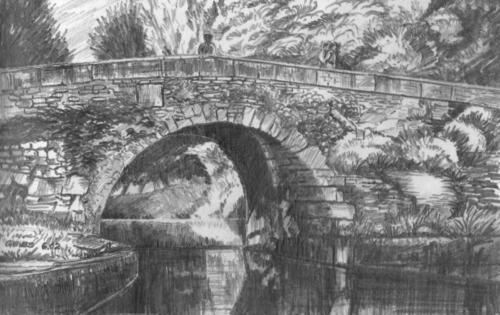 Zeichnung SW alte Steinbrücke in der Provence
