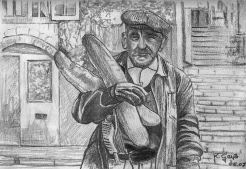 alter Franzose beim Baguette kaufen